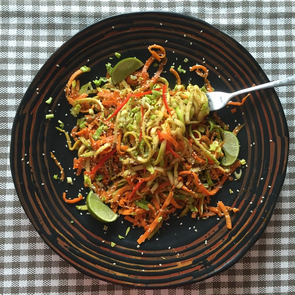 Asian style spiralised courgette, sweet potato and carrot bowl