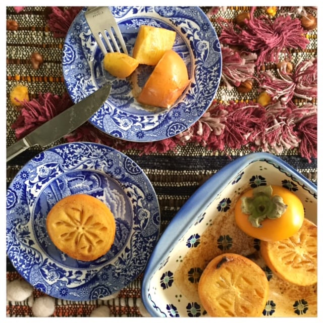honey baked spiced persimmons fruit in baking dish