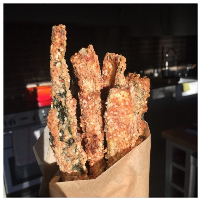 almond baked crunchy courgette sticks