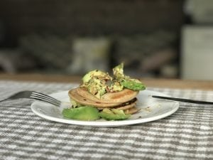 oat falxseed pancake stack with avocado