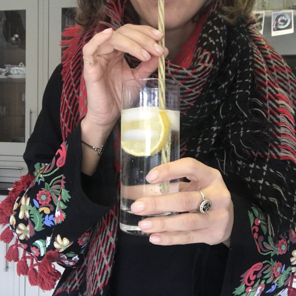 Dani drinking an alcohol free drink
