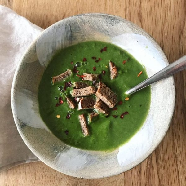 bowl of green soup